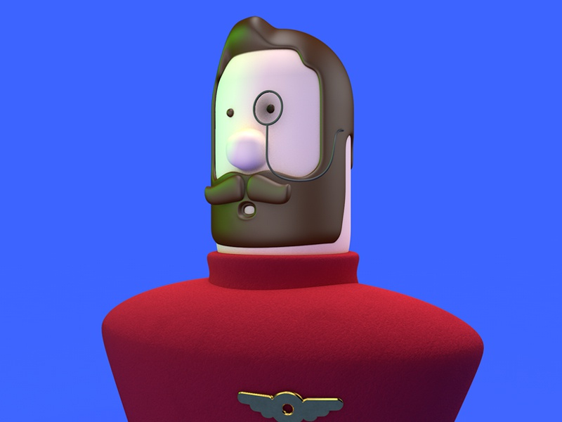 Pilot charachter design man 3d c4d game character art