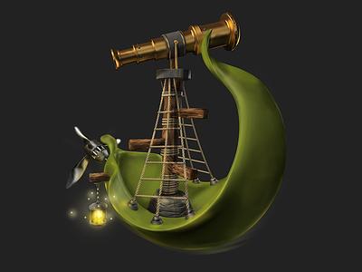 Leaf boat dream leaf ship 3d c4d icons game design game