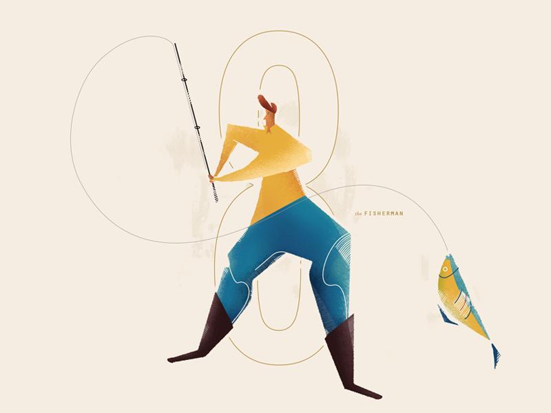 Fisherman texture adobe 2d inspitation fish manage design agency illustrator