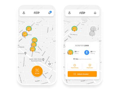 Fliip Scooters App mobile app ios app scooters design icon ux  ui ui