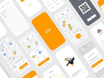 Fliip Scooter mobile app app illustration ux ui design branding logo