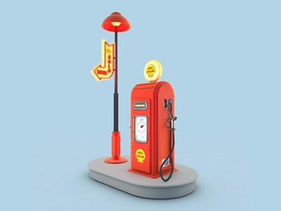 Gas Station c4d maxon3d gasstation fuel gas game art gamedesign design game illustration 3d