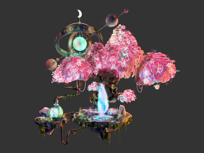 The Blue Crystal filter planet crystal magic tree blue illustration c4d 3d icons gamedesign game design