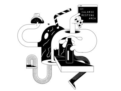 Character 02 food black  white lineart characterdesign illustration design