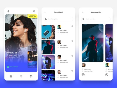 Songmate App interface song apple match chat ux ui app