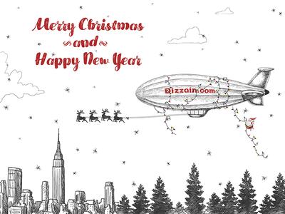 Xmas Card happy new year zeppelin skyline nyc santa winter card ny2016