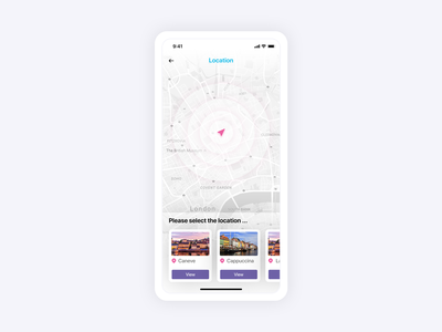 Location based search app screen design
