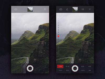 Photo App - Camera dark clean designer shutter slider camera photo ios app ui