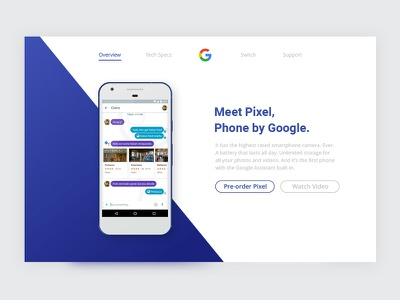 DailyUI #03 - Landing Page homepage blue google pixel product webdesign website phone buttons ui google landing page