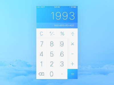 DailyUI #04 - Calculator sky daily ui ios numbers design typography blue calculator ui app