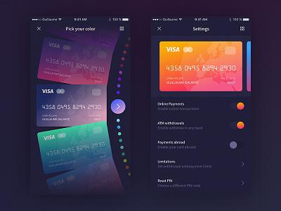 Banking App - Settings money finance colors settings banking gradient ux ui dark credit card bank