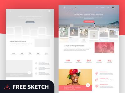 Airbnb landing page (Freebie Sketch file) landing page free ui kit freebie sketch photography responsive free ui web ui airbnb