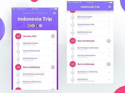 Travel Planner App friends scroll ios iphone app color airbnb travel calendar planning ui list