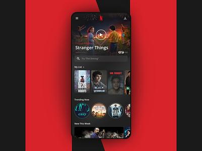 Netflix Home app design stories search movies ios player cards ui netflix app