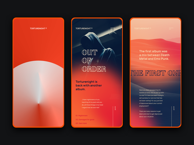 Torturenight Band App app application blurry blur gradient radial gradient dark daily ui inspiration daily ui music app