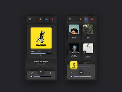 Music player App - Neumorphic Darkmode daily ui challenge daily ui ui inspiration uni card neumorphism neumorphic music player app music app minimalistic design inspiration application app
