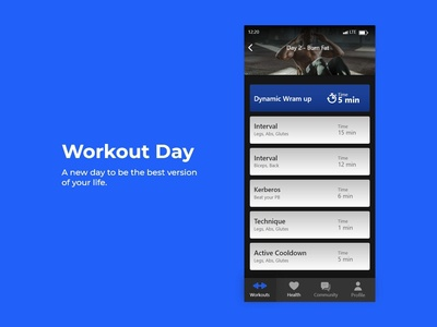 Workout Day / DailyUI challenge #62