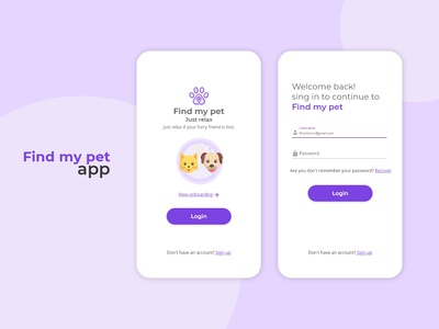 UI Design / Pre Login & Login / Find my pet App