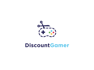DiscountGamer Logo logo mark identity game gaming discount gamer coupon scissor community deal controller nes