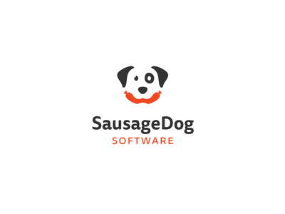 SausageDog Software logo mark identity brand proposal dog hot dog sausage meat software wiener pup