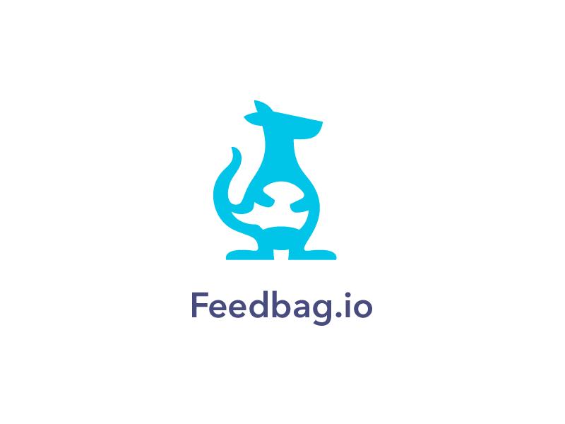 Feedbag.io Logo logo mark identity brand animal kangaroo bag speech bubble feedback