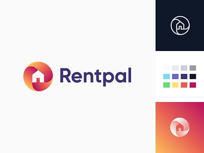 Rentpal Logo rent gradient house design brand symbol identity mark logo