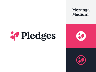 Pledges Logo pledge sprout grow leaf flower brand symbol identity mark logo