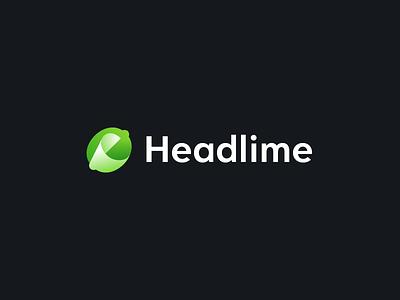 Headlime Logo headline copywriting fold paper brand symbol mark logo gradient green fruit lime write copy marketing