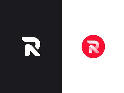 Rythm Logo Design symbol mark logo song gradient red lettering captial