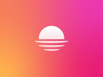 Origin Branding gradient symbol identity mark logo reflection water planet shine globe sunrise sunset