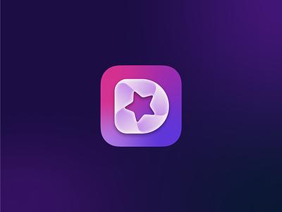 Detail App Icon live letter d video stream fold star macos ios icon brand gradient symbol identity mark logo