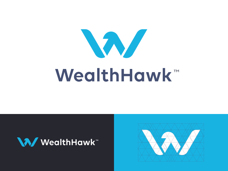 WealthHawk Logo financial finance fly wings bird eagle hawk