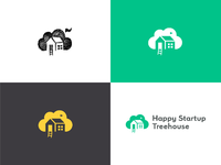 Happy startup treehouse   logo variations   process