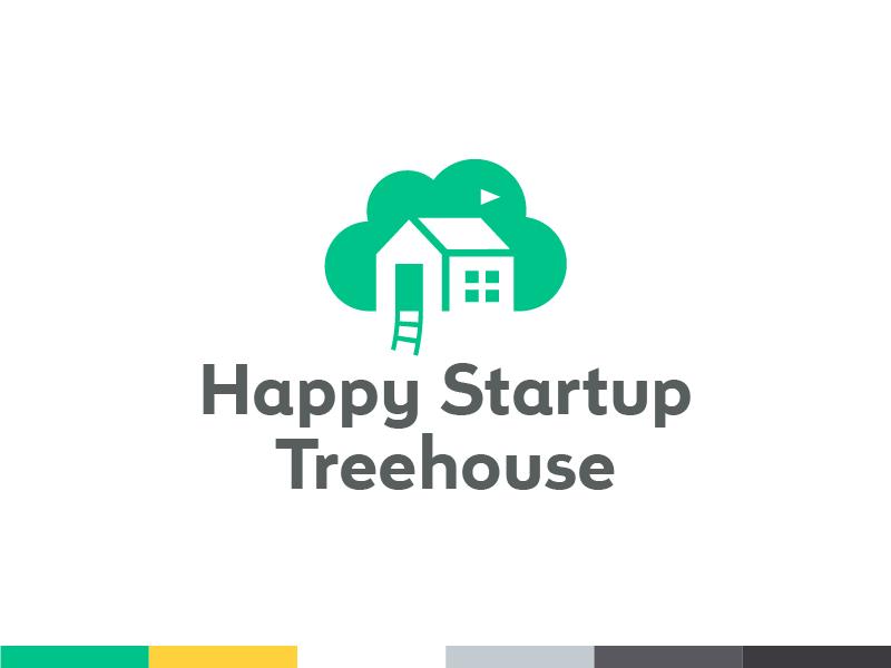 Happy Startup Treehouse – Logo ladder flag treehouse tree cloud house logo symbol mark