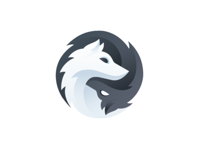 Gray Wolf Games - Logo gradient animal fur pup wolves wolf yin yang grey gray