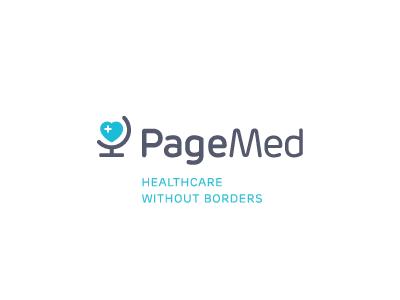 PageMed pagemed logo mark identity healthcare doctor health science heart globe border