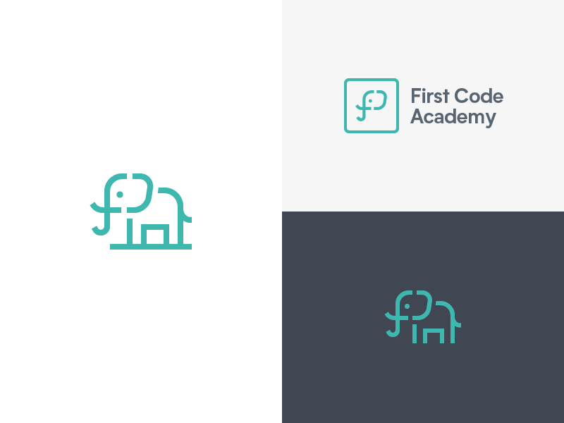 First Code Academy - Logo Concepts first academy coding code ear tusk c f animal elephant
