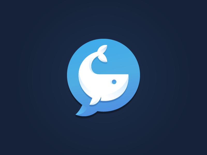 Whale Reports Logo ocean bubble speech blue sea swim mammal fish fin whale