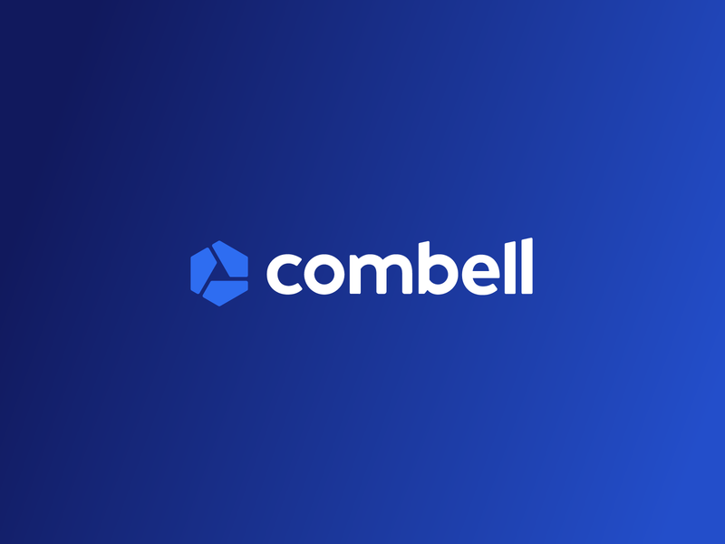 Combell Logo symbol mark logo c geometric art blue gradient hexagon combell