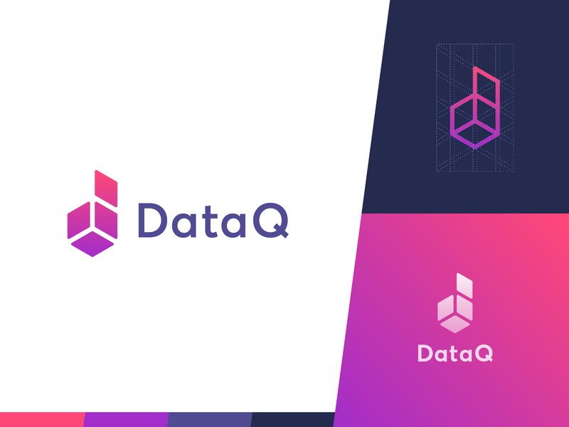 DataQ Logo box d simple grid purple gradient identity branding identity mark logo