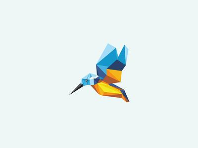Unused Poly Bird logo identity mark proposal rejected bird kingfisher polygon