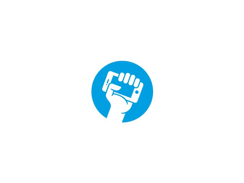 Mobile Logo logo mark identity hand phone mobile smart fist revolution iphone