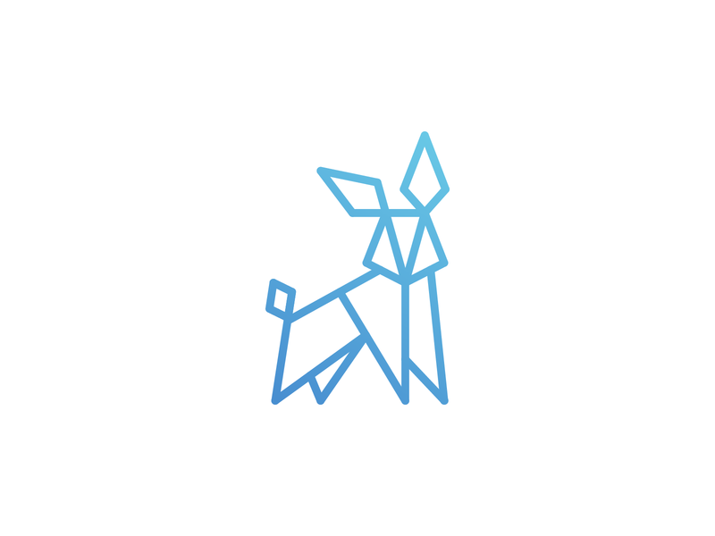 Curious Rabbit [Unused Concept] symbol mark logo blue gradient polygon rabbit