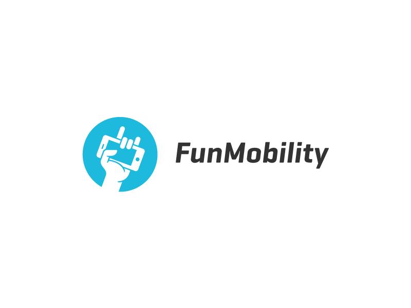 FunMobility Logo logo identity mark hand iphone fist fun rock
