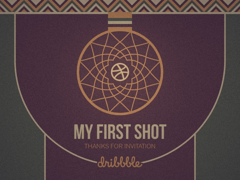 First Shot - Hello Dribbble! flower basketball hoop hoop thanks invite debut first shot