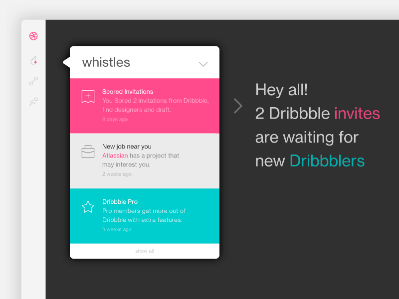 2 Dribbble Invites! ux ui icon whistles dribbble web dribbbleinvites invites invitation