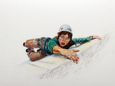 Climbing to the Top illustration colored pencil