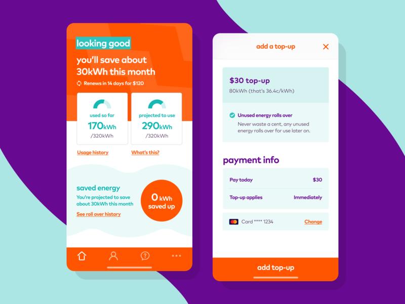 Watt a refresh modal ui track usage energy design system dashboard ios android app