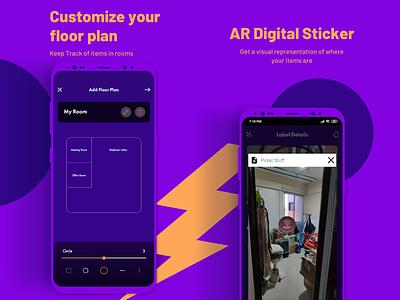WIZT App UI #3 ar filters ar app floor plan floorplan ar sticker art tracker tracking app tagging purple app design mobile design app android daily dailyui daily ui minimal ui