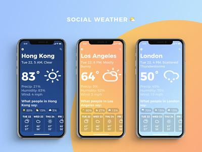 Social Weather App UI climacons iphone x emoji weather emoji social weather gradients minimal social weather app app weather
